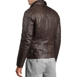 Soft Stylish Mens Lambskin Genuine Dark Brown Leather Jacket