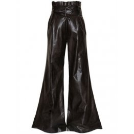 Vintage Style Wide Leg Black Leather Trousers Pants for Women