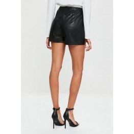 Women Loose High Waisted Black Beaded Hem Leather Eyelet Shorts