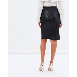 Womens Genuine High Waisted Black Leather Mini Pencil Skirt