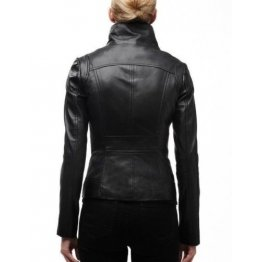 Biker Style Genuine Black Leather Moto Jackets for Women