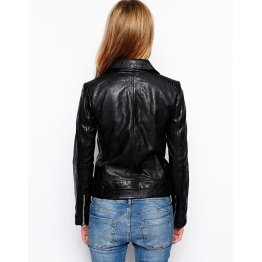Casual Street Style Black Leather Biker Jacket for Ladies