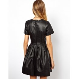 Elegant Fashion Black Leather Dress Outfit for Women