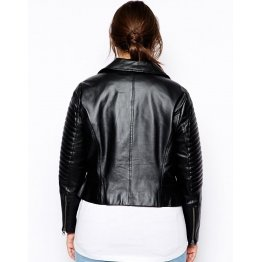 Ladies Premium Soft Touch Black Leather Quilted Motorcycle Jacket