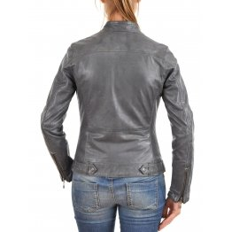Moto Style Blue Leather Biker Jacket for Womens