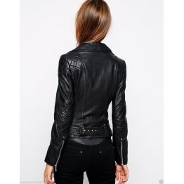 New Fashion Black Leather Jacket with Silver Zip Sleeves for Ladies