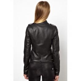 New Genuine Soft Lambskin Short Black Leather Jacket for Women