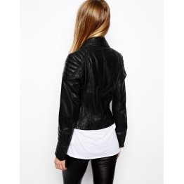 Soft Lambskin Black Leather Biker Jacket for Ladies