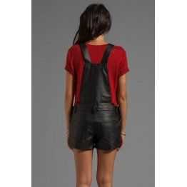 Womens Hot Black Leather Overalls One Piece Short Romper