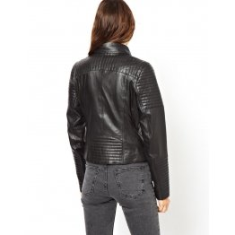 Womens Super Soft Black Leather Biker Style Quilted Jacket