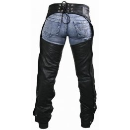 Braided Black Leather Chaps Pants for Women