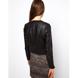 Classic High Fashion Womens Black Leather Short Jacket