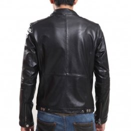 Genuine Lambskin Slim Fit Black Leather Jacket for Mens