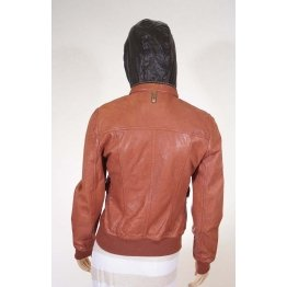 Womens Brick Red Leather Moto Biker Hooded Bomber Jacket
