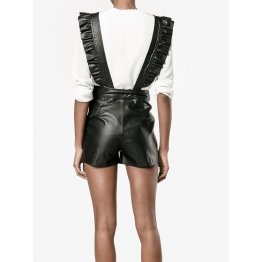 Womens Elegant One Piece Black Leather Romper Shorts