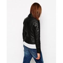 Womens Premium Genuine Fashion Black Motorcycle Leather Jacket