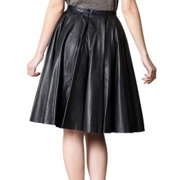 Womens Slim Fit Genuine Soft Lambskin Black Leather Skirt