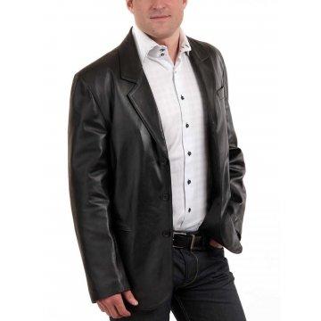 Best Genuine Real Lambskin Black Leather Blazer Coat for Men