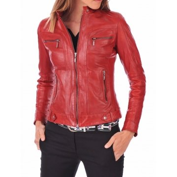 Best Real Womens Red Leather Jacket