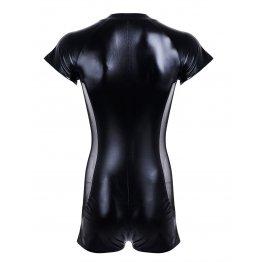 Black Leather Stretch Clubwear Costume Zipper Jumpsuit for Men