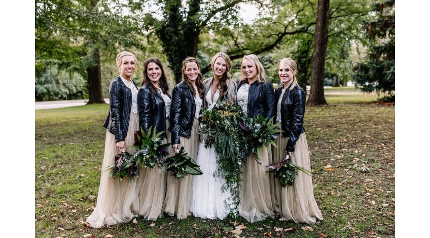 Bridal Party Leather Jackets Rocking on Wedding Day