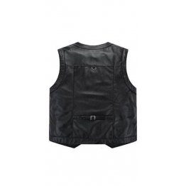 Casual Thicken Black Leather motorcycle Sleeveless Vest for Mens