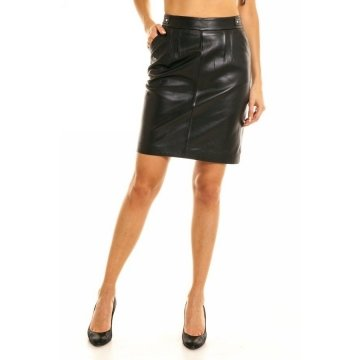 Celebrity Style Pure Black Leather Skirt Party Wear for Ladies