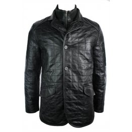 Celebrity Quilted Style Pure Black Leather Blazer for Men