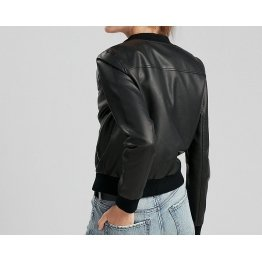 Classic Pure Lambskin Black Leather Bomber Jacket for Women