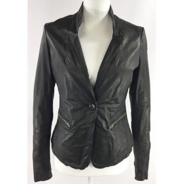 Classic Single Breasted Pure Black Leather Blazer for Ladies