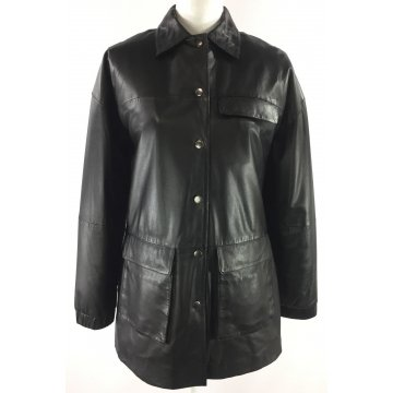 Classic Super Soft Pure Black Leather Coat for Women