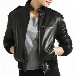 Classic Black Leather Bomber Jacket for Women