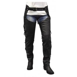 Cool Cut Fringe Black Leather Motorcycle Riding Chap for Women