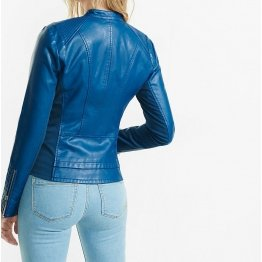 Custom Made Blue Leather Biker Motorcycle Jacket for Women