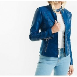 Custom Made Blue Leather Biker Motorcycle Jacket for Women