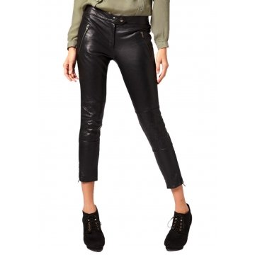 Custom Made Casual Zip Pockets Black Leather Ladies Capri Pant
