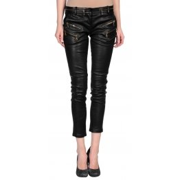 Custom Made Urbane Leather Capri Pants For Women