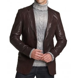 Custom Made Real Brown Leather Blazer for Men