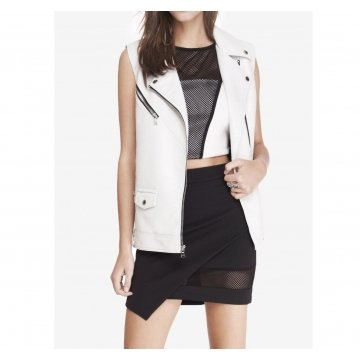 Elongated Minus White Leather Moto Vest for Women