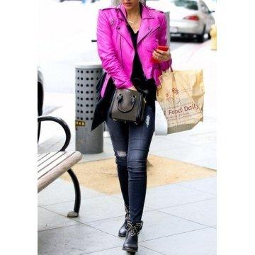 Female Fashion Pink Leather Motorcycle Jacket