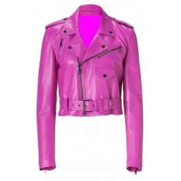 Female Fashion Pink Leather Motorcycle Jacket