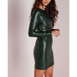 Fitted Long Sleeves Green Leather Bodycon Dress for Womens