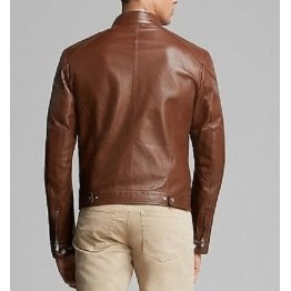 Fitted Mens Leather Brown Jacket with Four Pockets