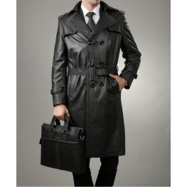Full Length Black Leather Trench Coat for Men