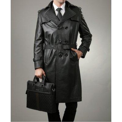 Full Length Black Leather Trench Coat for Men
