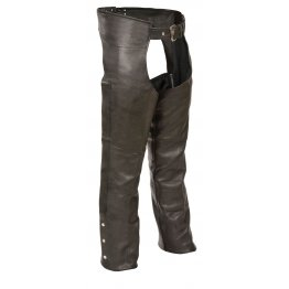 Fully Lined Naked Black Leather Chaps for Men