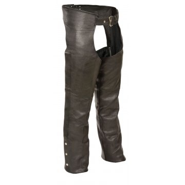 Fully Lined Naked Cowhide Black Leather Chaps for Men