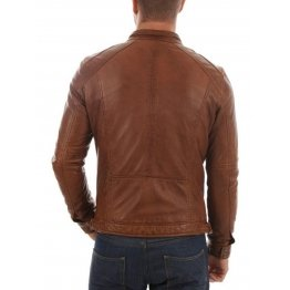 Genuine Lambskin Tan Brown Leather Biker Motorcycle Jacket