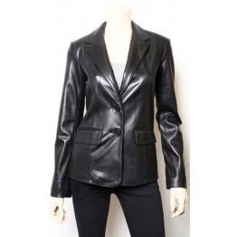 Hot Designer Black Leather Blazer Jacket Coat for Women