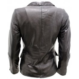 Ladies Casual Outwear Black Leather Smart Blazer